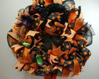 Wreath, Halloween Wreath, Halloween, Front Door Wreath, Deco Mesh Wreath, Witch Wreath, Black Cat Wreath, Halloween Decor,