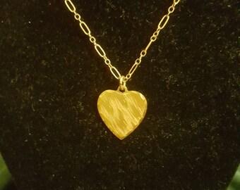 Vintage Gold Filled Heart Necklace Marked Wells