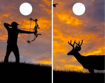 Deer Hunter Sunset Cornhole Wrap Bag Toss Decal Baggo Skin Sticker Wraps