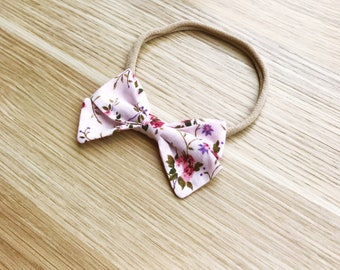 Baby girl newborn toddler vintage floral pink bow headband nylon baby bow headband pink