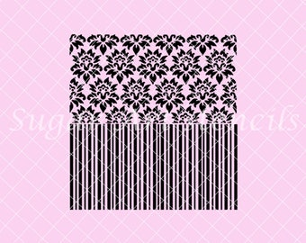 Damask and stripes stencil 2 in 1 background NB300256