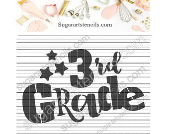 3rd grade School cookie stencil NY0147