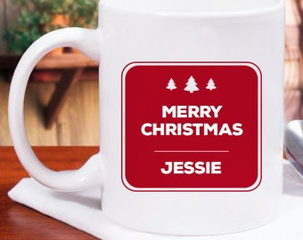 Merry Christmas Personalized Mug With Name, Initial Printed On It