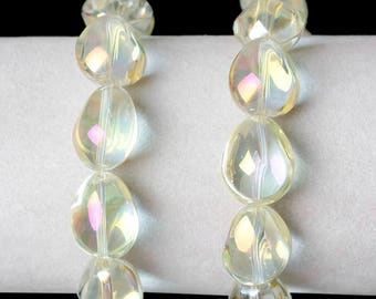 "5 ""Drop"" beads 17mm light yellow color glass"