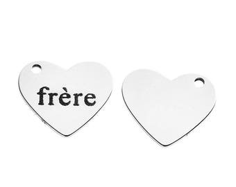"""Brother"" engraved pendants 5 heart stainless steel 1.8 cm"