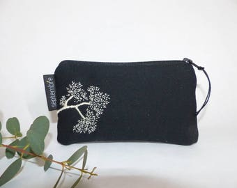 Embroidered black fabric purse / wallet tree / tree embroidered pattern / unique embroidery / black purse / embroidered purse