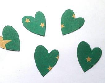 5 hearts cut cardboard green star dies