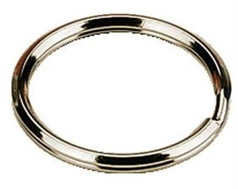 5 key ring, ring diameter: 25 mm, silver metal.