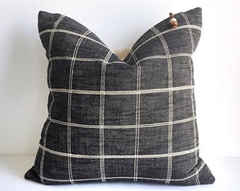 Black and cream check pillow cover 16x16
