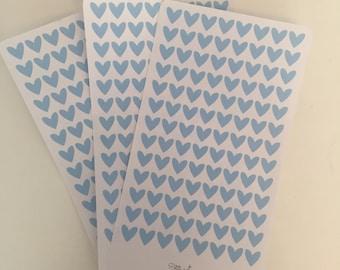 1 cm x 1 cm Pale Blue Heart Stickers