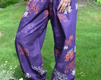 Dancing Elephants-Trousers/Pants with front pockets,Wide leg trousers,Drawstring at ankle,Straight line,Meditation,Lounge Wear,Pure Cotton