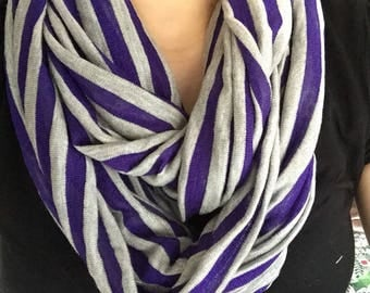 Purple and Gray Striped Infinity Scarf