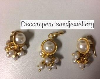 Andalib pendant and earrings set , jadau jewellery , pearl jewellery