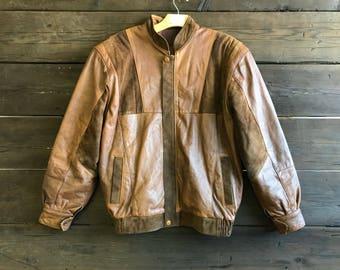 Vintage 80s Leather Bomber Jacket