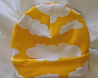 Cotton Jersey Childrens Hats - Yellow Cloud Design