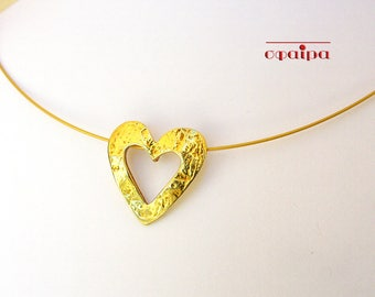 Gold heart necklace, Dainty gold plated silver necklace, Layering necklace, Thin heart necklace.