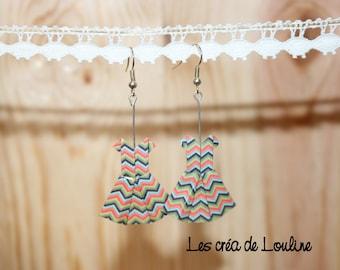 Green-brown-orange-red blue origami dress earrings