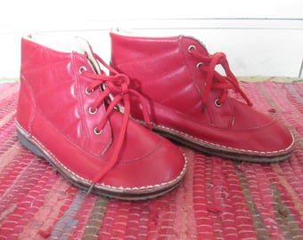 Red Vintage Boots Size 11 Child's Lace Up Gift Birthday