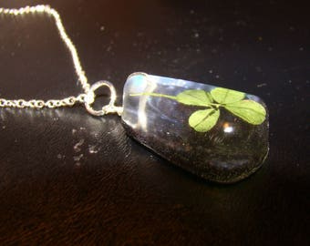Four Leaf Clover Pendant Necklace / Resin Cast / Natural Foliage / Eco Jewelry / Sterling Silver 925 Chain / Handmade / Black Glitter