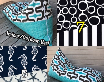 Outdoor Bean Bag Chair or Lounger - Double Sided -Choose Your Pattern!