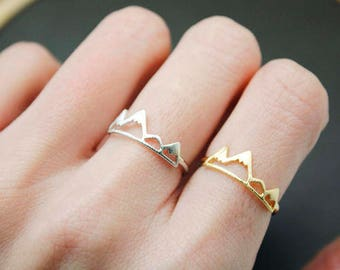 Mountain Ring, Snow Mountain Ring,Mountain Rock Climbing Jewelry