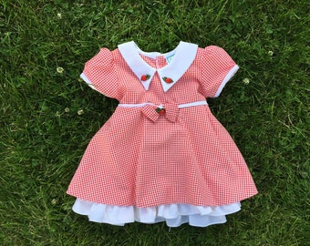 Vintage red and white checkered girls dress