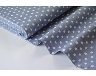 Cotton Poplin fabric grey white stars