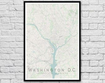 Washington DC USA City Street Map Print   Wall Art Poster   Wall decor   A3 A2