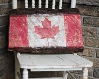 Canadian Flag on Live Edge Maple   Canada 150   Rustic Flag