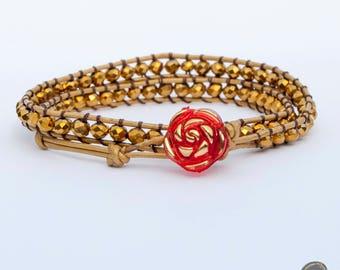 Double leather beaded bracelet, leather bracelet