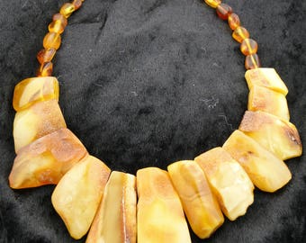 Raw and Polished Butterscotch Amber Necklace