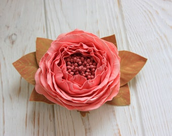 Coral rose fall bride hair clip girl, rose hair piece, wedding pink fall hair style delicate peach rose floral hair comb, flower headress