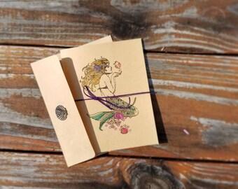 Mermaid Notecard Hand-Decorated Hand-Stamped. Natural Brown, Blank. Embossed, Glittery Sea Ocean Gift 8 pack