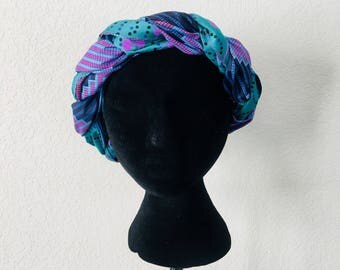 Head Wrap - African - Reversable - Kop Wrap - ontmoet die water (meet the water)