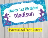 """18""""x30"""" Under the Sea Mermaid Party Personalized Party Banner 