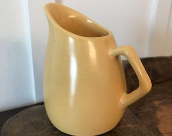Vintage Modern Yellow Slant Mouth Syrup Pitcher or Large Creamer