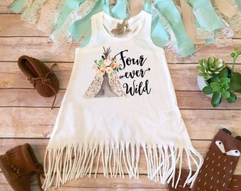 Fourth Birthday Outfit Girl, Four Ever Wild Birthday Dress, 4th Birthday Outfit Girl, Boho Birthday Fringe Dress, Birthday Teepee Four Shirt