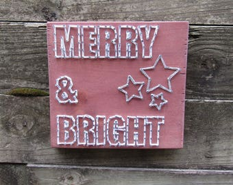Merry & Bright String Art Wood Sign