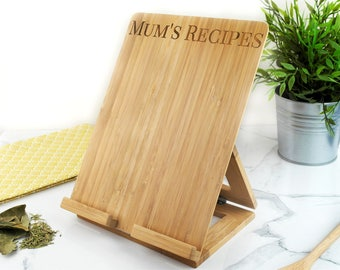 Personalised Recipe Stand, Wooden Ipad Holder, Personalised Cooking Gift,Recipe  Holder, Ipad
