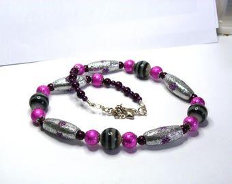Necklace pink glass beads fuchsia glittery gray metal finishes silver Kashmiri beads