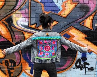 Embellished Denim jacket-Bohemian-Gypsy-style.