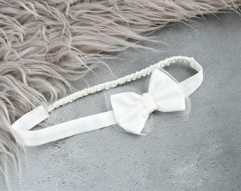 Satin bow Christening Headband 'Harper' - Baby girl headband - Christening accessories - Baby headband - Flower Girl headband
