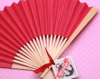 10 pcs DIY Red Paper Hand Fans