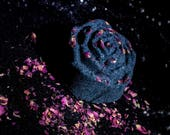 Morticia Black Rose Scented Rose Bath Bombs w. Real Roses