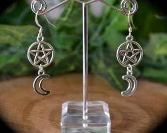 Pentagram and crescent moon earrings lunar wicca celtic boho style jewellery spiritual new age hippie gift ideas silver earrings witchcraft