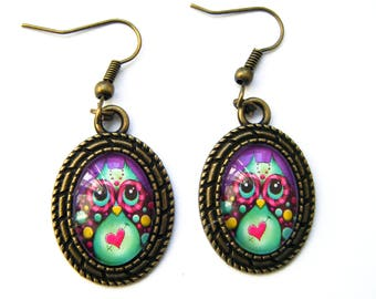 "Bronze oval Stud Earrings ""little colorful OWL"""