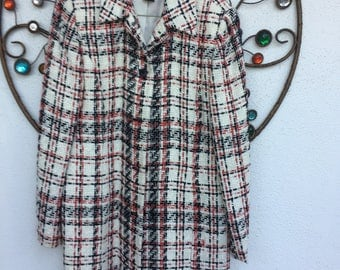 Vintage Plaid Coat, Style & Co Red, White and Black Mid Length Coat, Size 8 Regular