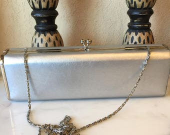 Bijoux Terner Silver Cross Body Purse, 90s Silver Boxed Shoulder Evening Bag, Structured  Silver Purse