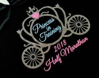 Princess in Training 2018 Half Marathon - glitter running challenge design tech tank, cotton tee, or v neck - fairy tale inspired