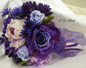 Purple Rose and Peony Bridal Bouquet, Multi Floral Brides Bouquet, Lavender Wedding Flowers, Violet Bridesmaid Bouquet, Purple Bouquet